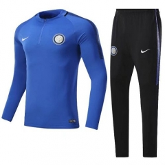 2017-2018 Inter Milan 1/4 Zip Squad Round Collar Blue Training Suit
