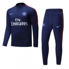 2017-2018 Paris 1/4 Zip Squad Blue Training Suit