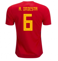 2018 Spain #6  A. INIESTA Home Red Soccer Jersey Shirts