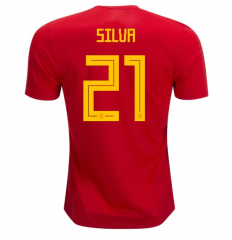 2018 Spain #21 SILVR Home Red Soccer Jersey Shirts