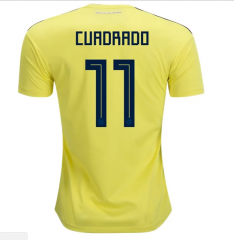 2018 Colombia #11 CUADRADO Home Yellow Soccer Jersey Shirts