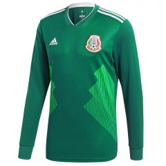 2018 Mexico Home Green Long Sleeve Soccer Jersey Shirt