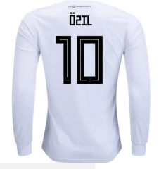 2018 Germany #10 OZIL Home White Long Sleeve Soccer Jersey Shirts