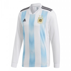 2018 Argentina Home White/Sky Blue Long Sleeve Soccer Jersey Shirt