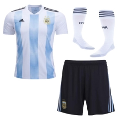 2018 World Cup Argentina Home Jersey Whole Kit (Jersey+Short+Socks)