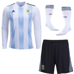 2018 World Cup Argentina Home Long Sleeve Jersey Whole Kit (Jersey+Short+Socks)
