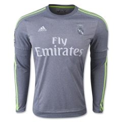 Real Madrid Away Grey Long Sleeve Soccer Jersey Shirt 2015-16