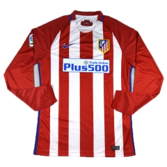 Atletico Madrid Home Long Sleeve Soccer Jersey Shirt 2016-17
