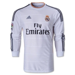 Real Madrid Home White Long Sleeve Soccer Jersey Shirt 2013-2014