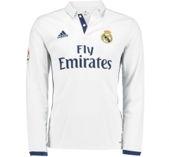 Real Madrid Home White Long Sleeve Soccer Jersey Shirt 2016-17