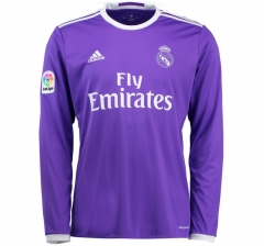 Real Madrid Away Purple Long Sleeve Soccer Jersey Shirt 2016-17
