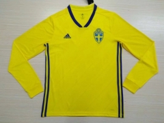 Sverige Home Yellow 2018 World Cup Long Sleeve Soccer Jersey