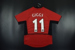 2002 Manchester United #11 GIGGS Home Red Retro Jersey
