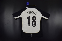 2001-2002 Manchester United #18 SCHOLES White /Golden Reversible Retro Jersey