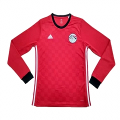 2018 Egypt Home Red Long Sleeve Soccer Jersey Shirt