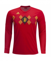 2018 Belgium Home Red Long Sleeve Soccer Jersey Shirt