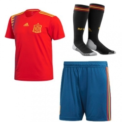 Youth Spain Home Soccer Full Kits 2018, Jersey+Short+Socks