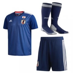 Adult Japan Home Soccer Jersey Full Kits 2018 ,Jersey+Shorts+Sock