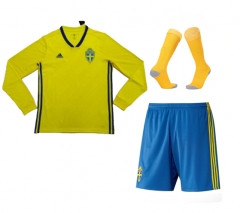 Adult Sverige Home Long Sleeve Full Kits 2018 ,Jersey+Shorts+Sock