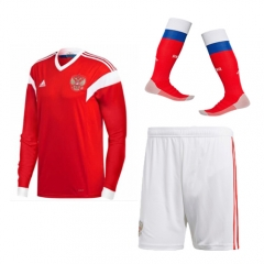 Adult Russia Home Long Sleeve Full Kits 2018 ,Jersey+Shorts+Sock