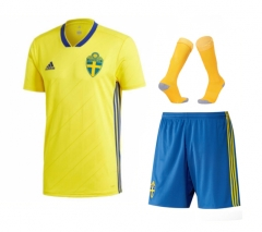 Adult Sverige Home Soccer Jersey Full Kits 2018 ,Jersey+Shorts+Sock