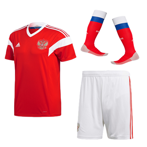Adult Russia Home Soccer Jersey Full Kits 2018 ,Jersey+Shorts+Sock