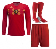 Adult Belgium Home Long Sleeve Full Kits 2018 ,Jersey+Shorts+Sock