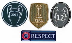 Uefa league champion patch +Fifa club world cup champion patch + Respect+12 trophy patch ,4 pcs/ lots ,for Real madrid 2016-2017-2018-2019