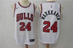 Lauri Markkanen #24 Nike Chicago Bulls Swingman Icon Jersey - White/Red/Black