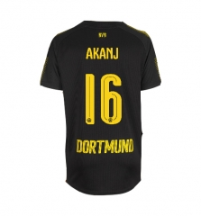 Adult #16 Manuel Akanji Borussia Dortmund Away Black Jersey Fan Version 2017/18