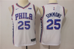 Youth Ben Simmons #25 Nike Philadelphia 76ers Swingman Icon Jersey - White/Blue/Red