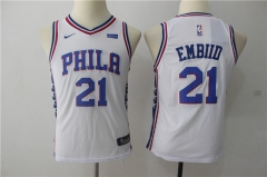 Youth Joel Embiid #21 Nike Philadelphia 76ers Swingman Icon Jersey - White/Blue/Red