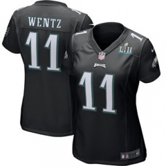Women's Carson Wentz Philadelphia Eagles  Super Bowl LII Bound Game Jersey - Black