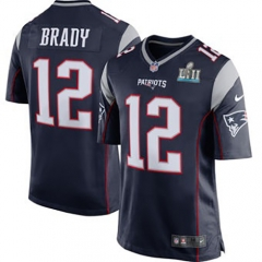 Youth Tom Brady New England Patriots Super Bowl LII Bound Game Jersey - Navy/Red