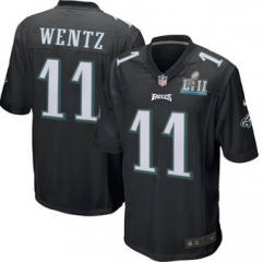 Youth Carson Wentz Philadelphia Eagles  Super Bowl LII Bound Game Jersey - Black/Green