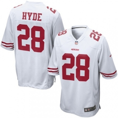 Carlos Hyde San Francisco 49ers Game Jersey - White/Red