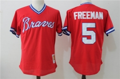 Freddie Freeman #5 Atlanta Braves Mitchell & Ness 1980 Authentic Cooperstown Collection Mesh Batting Practice Jersey - Red