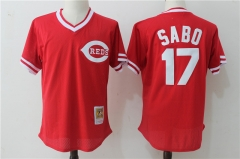Chris Sabo #17 Cincinnati Reds Mitchell & Ness Cooperstown Mesh Batting Practice Jersey - Red