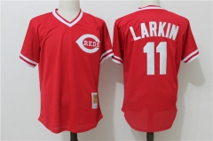 Barry Larkin #11 Cincinnati Reds Mitchell & Ness Throwback Cooperstown Mesh Batting Practice Jersey - Red
