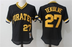 Kent Tekulve #27 Pittsburgh Pirates Mitchell & Ness 1982 Cooperstown Collection Authentic Practice Jersey - Black