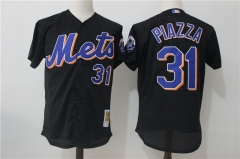 Mike Piazza #31 New York Mets Mitchell & Ness Cooperstown Mesh Batting Practice Jersey - Black