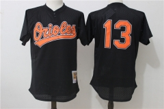Manny Machado #13 Baltimore Orioles Mitchell & Ness Cooperstown Mesh Batting Practice Jersey - Black/White