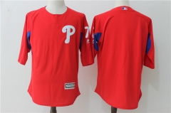 Maikel Franco #7 Philadelphia Phillies Majestic Authentic Collection On-Field 3/4-Sleeve Player Batting Practice Jersey - Red