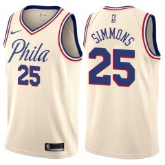 Ben Simmons #25 Nike Philadelphia 76ers Swingman City Edition Jersey - Cream
