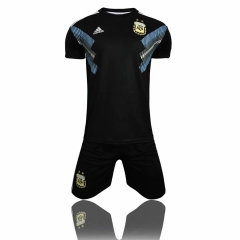 2018 World Cup Argentina Away Black Soccer Uniform