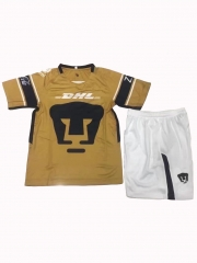 Youth Pumas UNAM Third Away Yellow Sets,2018-2019,Jersey+Shorts