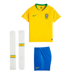 Youth Brazil Home Soccer Jersey Full Kits 2018 ,Jersey+Shorts+Sock