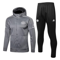 Manchester United Gray Z.N.E Hoodie Jacket Suit 2018