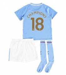 Manchester City #18 Champions Soccer Jersey Full Kits 2018 ,Jersey+Shorts+Sock