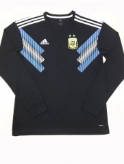 2018 World Cup Argentina Away Black Long Sleeve Soccer Jersey Shirt